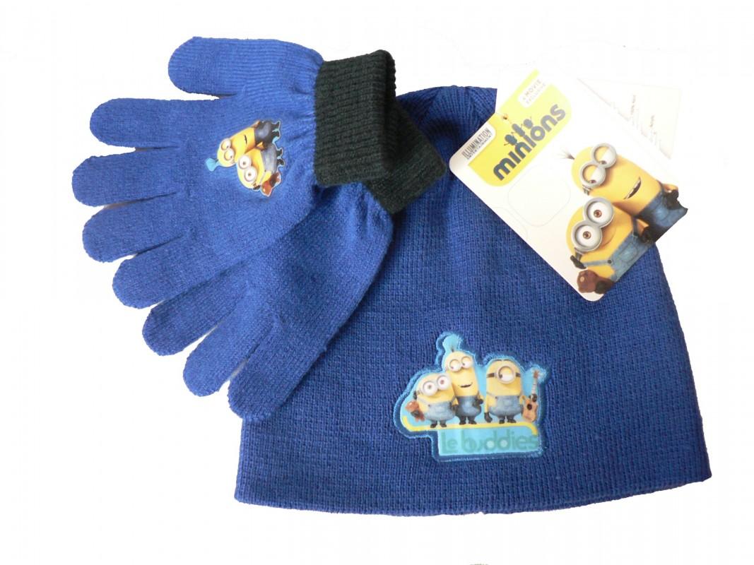 Sada čepice + rukavice Mimoni modrá