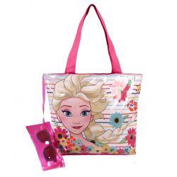 Dívčí plážová sada / taška a sluneční brýle v pouzdře Elsa / Frozen / Ledové Království 30 x 25 x 5 cm