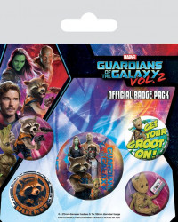 Sada 5 ks odznaků Strážci Galaxie / Guardians of the Galaxy Vol. 2 / Rocket & Groot