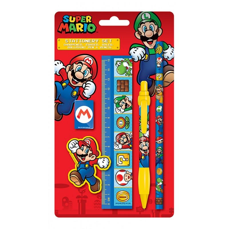 Školní sada pomůcek Super Mario / tužka propiska pravítko guma ořezávátko / vecizfilmu