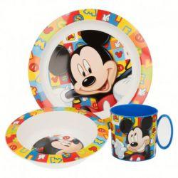 Dětská sada plastového nádobí Myšák Mickey / Mickey Mouse / talíř miska kelímek