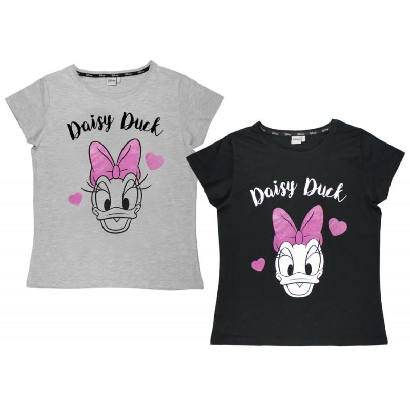 Dámské tričko s krátkým rukávem Daisy Duck / Disney šedé / černé / vecizfilmu