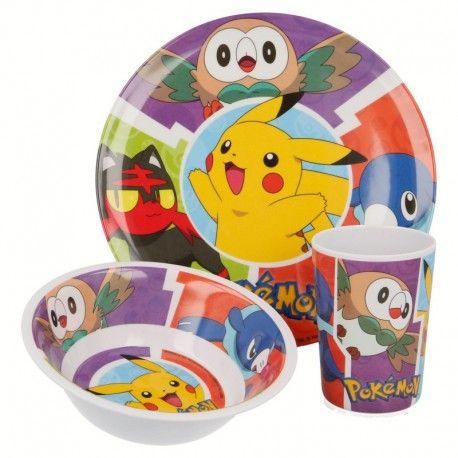 Dětská sada plastového nádobí Pokémon / Pikachu / talíř miska a kelímek