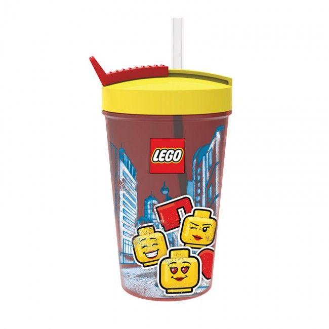 Plastový kelímek s ukrytým brčkem Lego Iconic City 500 ml