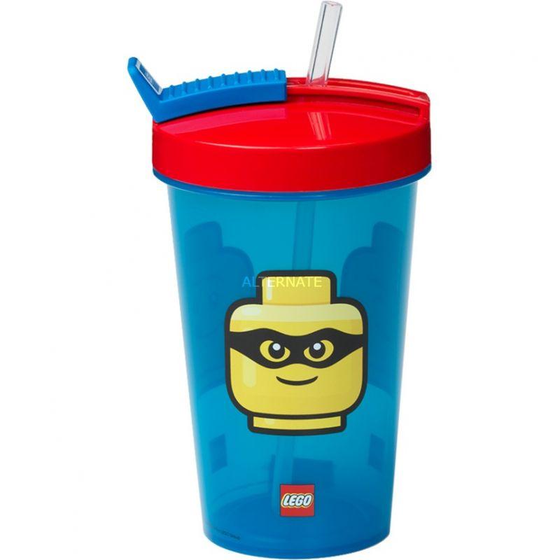 Plastový kelímek s ukrytým brčkem Lego Iconic Blue and Red 500 ml