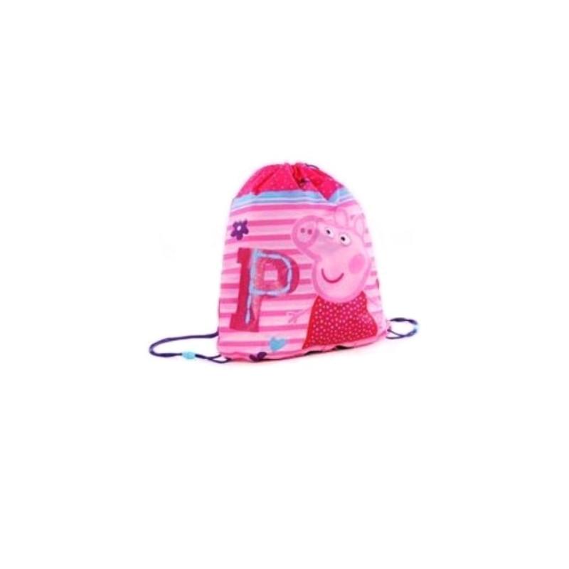 Taška / pytlík na přezůvky Prasátko Peppa růžový 44 x 37 cm