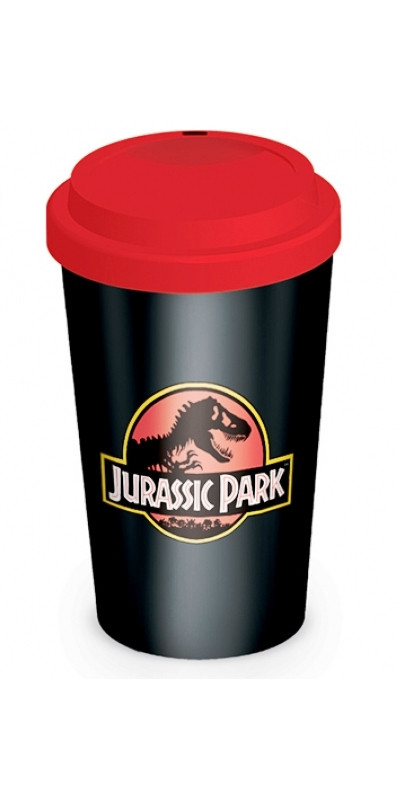 Porcelánový cestovní hrnek se silikonovým víčkem Jurassic Park / Jurský Park 340 ml