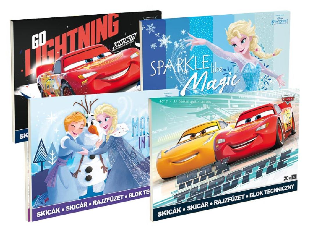 Skicák A3 / 20 listů Frozen / Cars / vecizfilmu