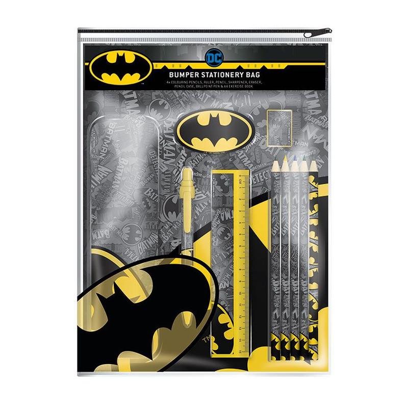 Sada školních pomůcek Batman / notes / kovový penál / kuličkové pero / pravítko / pastelky / guma a ořezávátko