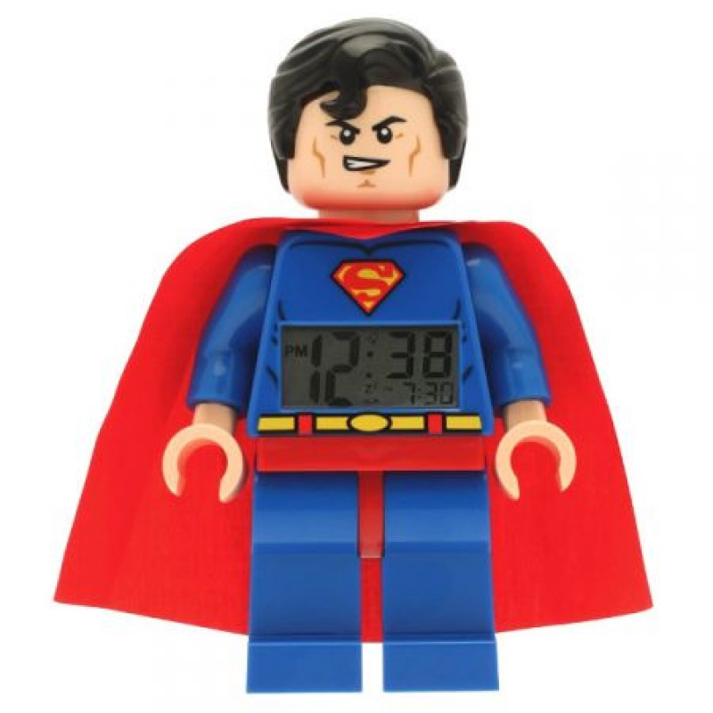 Originální hodiny / budík s LED světlem ve tvaru hrdiny Supermana 23 x 14 x 7 cm