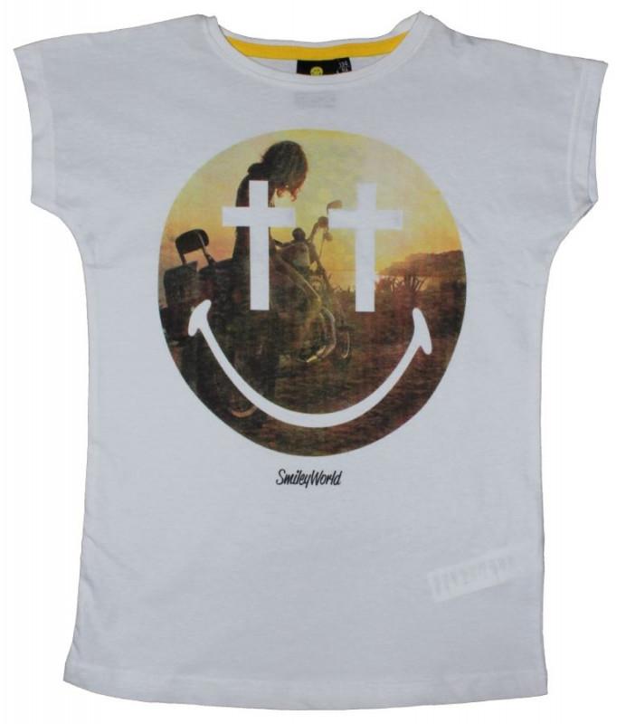 Dívčí bílé tričko s krátkým rukávem Smile / Smajlík / Emoji velikost 134 - 164 cm