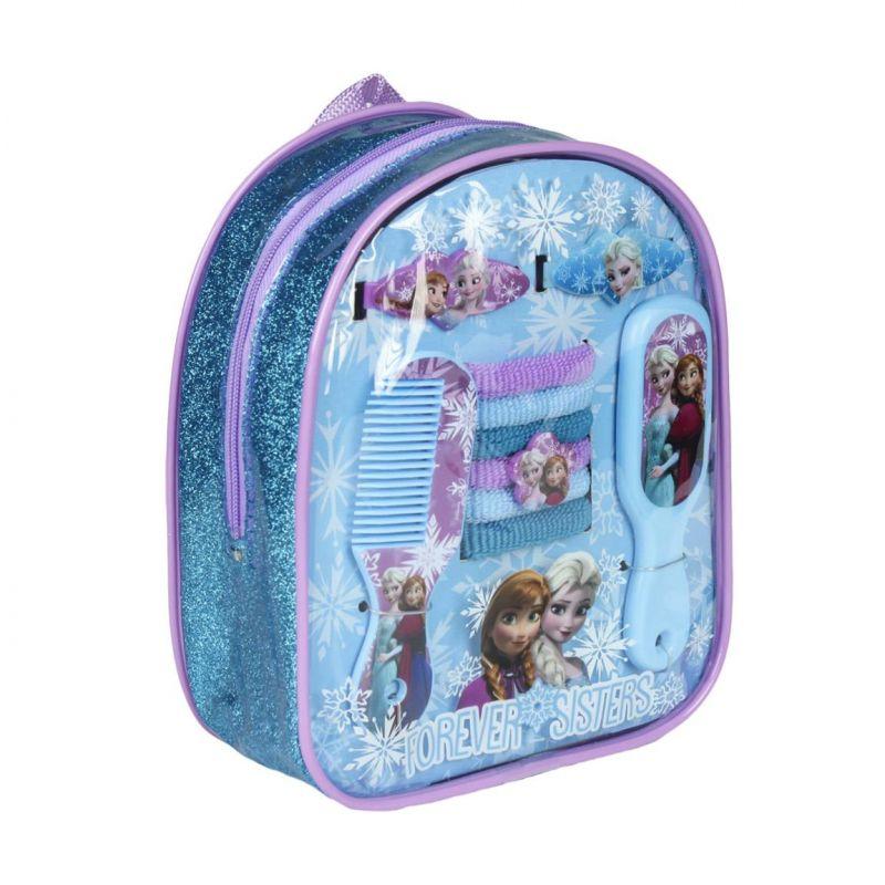 Dívčí hřebínek a doplňky do vlasů Frozen / Ledové království v malém batůžku 18 x 15 cm