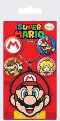 Gumový přívěšek na klíče a 4 ks odznaků Super Mario