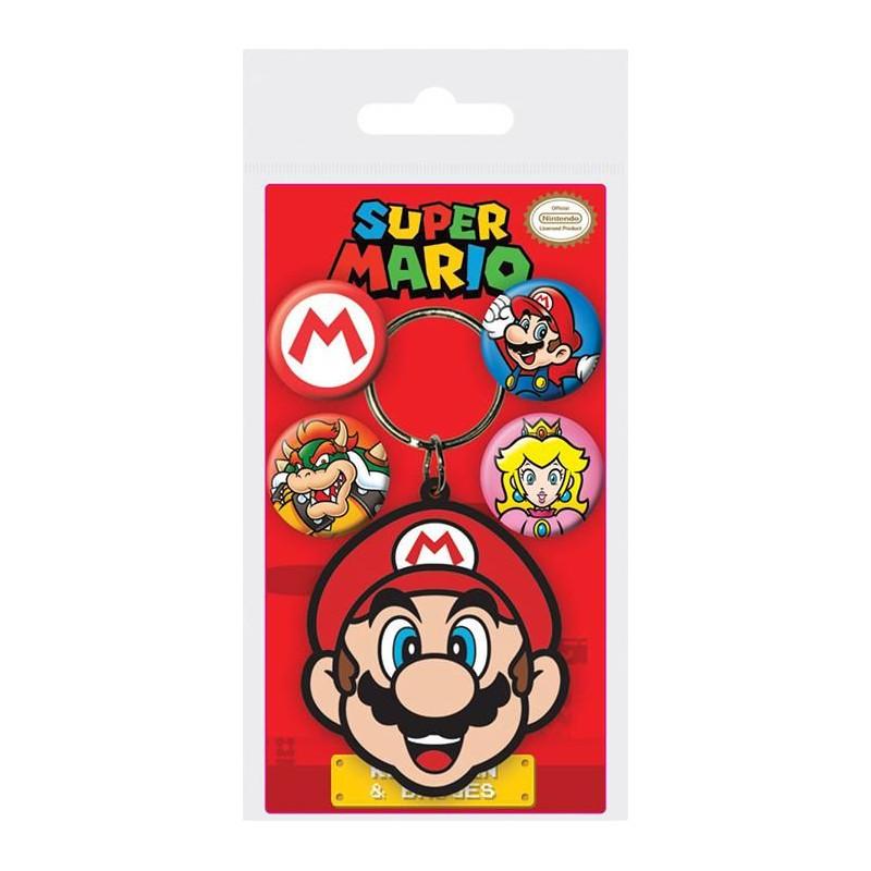 Gumový přívěšek na klíče a 4 ks odznaků Super Mario / vecizfilmu