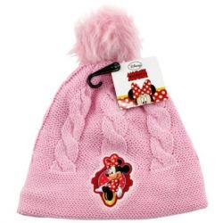 Dívčí růžová podzimní / zimní čepice s bambulí Myška Minnie / Minnie Mouse 52 cm