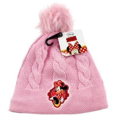 Dívčí růžová podzimní / zimní čepice s bambulí Myška Minnie / Minnie Mouse 54 cm
