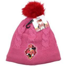 Tmavě růžová podzimní / zimní čepice Minnie Mouse 52 cm