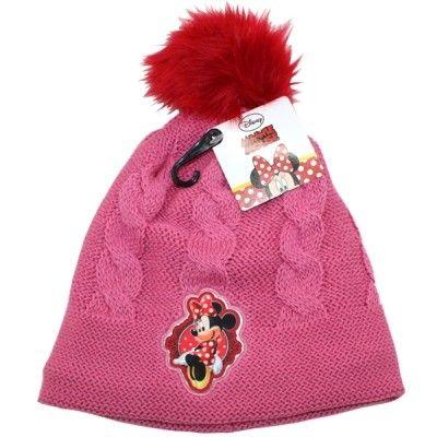 Dívčí tmavě růžová podzimní / zimní čepice s bambulí Myška Minnie / Minnie Mouse 54 cm