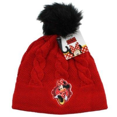 Dívčí červená podzimní / zimní čepice s bambulí Myška Minnie / Minnie Mouse 52 cm