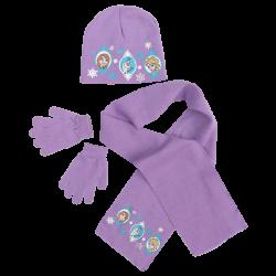 Dívčí fialová sada oblečení / čepice / šála / rukavice Frozen / Anna / Elsa / Olaf 52 cm