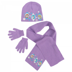 Čepice / šála / rukavice Frozen / Anna / Elsa / Olaf fialová 54 cm