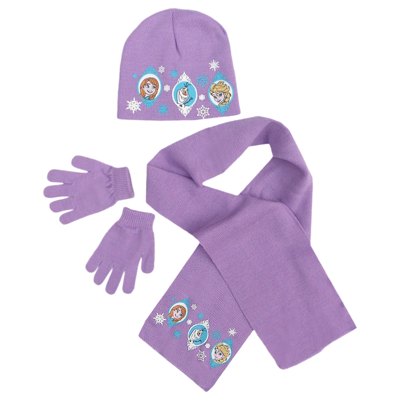 Dívčí fialová sada oblečení / čepice / šála / rukavice Frozen / Anna / Elsa / Olaf 54 cm