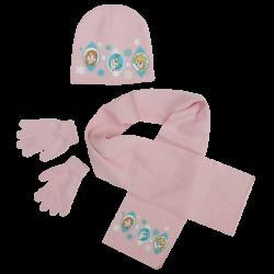 Dívčí růžová sada oblečení / čepice / šála / rukavice Frozen / Anna / Elsa / Olaf 52 cm