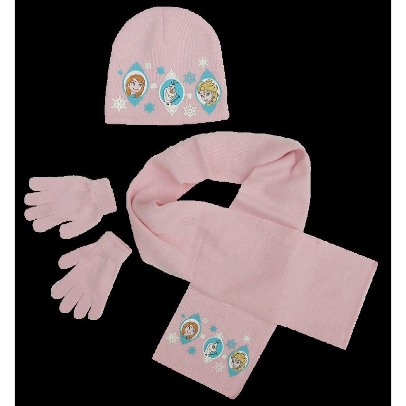 Dívčí růžová sada oblečení / čepice / šála / rukavice Frozen / Anna / Elsa / Olaf 54 cm
