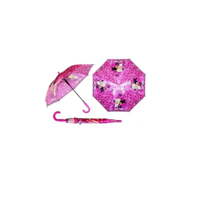 Dívčí automatický deštník Myška Minnie / Minnie Mouse Růžový