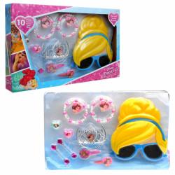 Sponky a bižuterie Princess / Princezny / sponky do vlasů, náramky, prstýnky, 3D brýle s maskou.