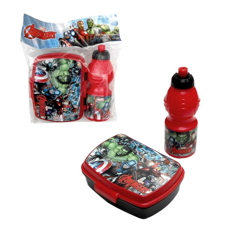 Svačinová sada Avengers /  lunch box a láhev na vodu 265 ml