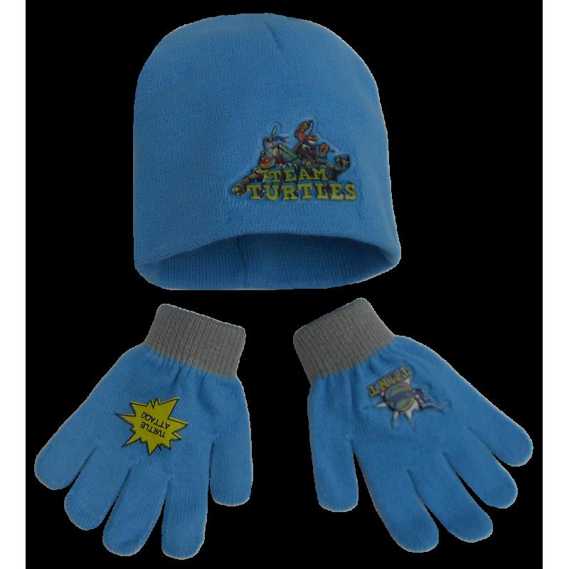 Podzimní / zimní set Želvy Ninja / čepice, rukavice / vel: 51 cm
