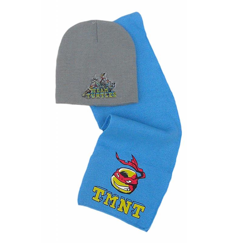Podzimní / zimní set Želvy Ninja / Ninja Turtles / čepice, šála / vel: 51cm