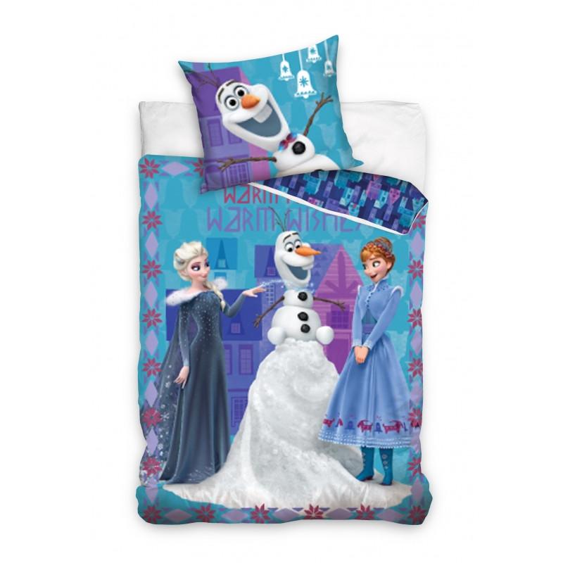Dívčí modré povlečení Frozen / Ledové Království / Elsa Olaf Anna 140 x 200 cm / 70 x 80 cm