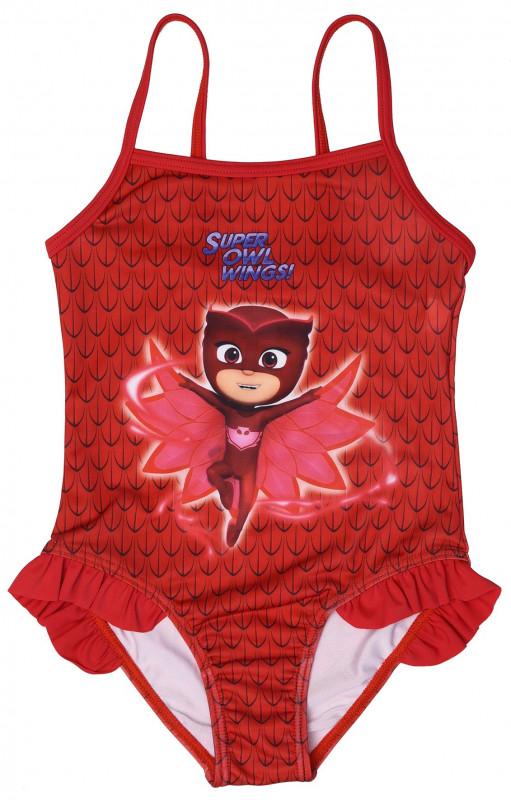 Dívčí červené jednodílné plavky Sovička Amaya / PJ Masks / Pyžamasky / 2 - 6 let