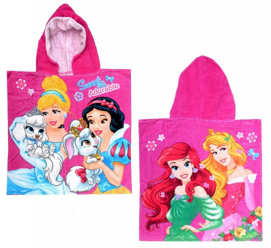 Dívčí ručník / pončo s kapucí Princezny / Princess 50 x 100 cm