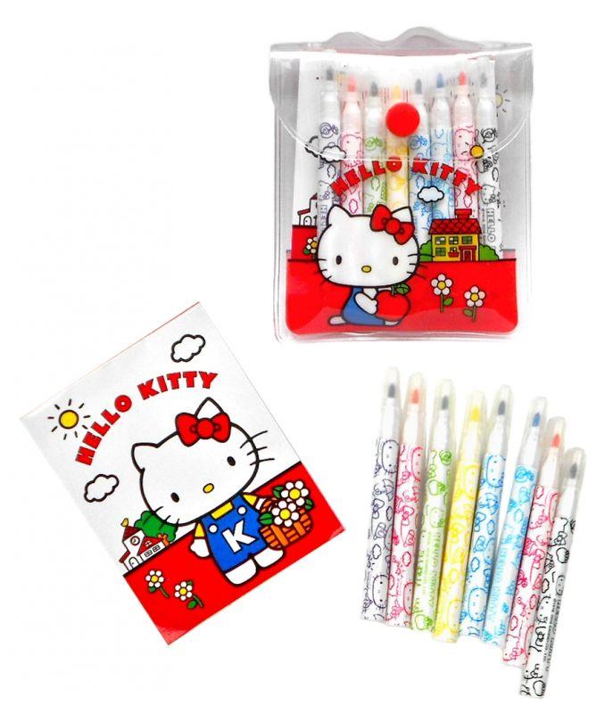 Bloček a 8 ks fixů pro holky / kočička Hello Kitty