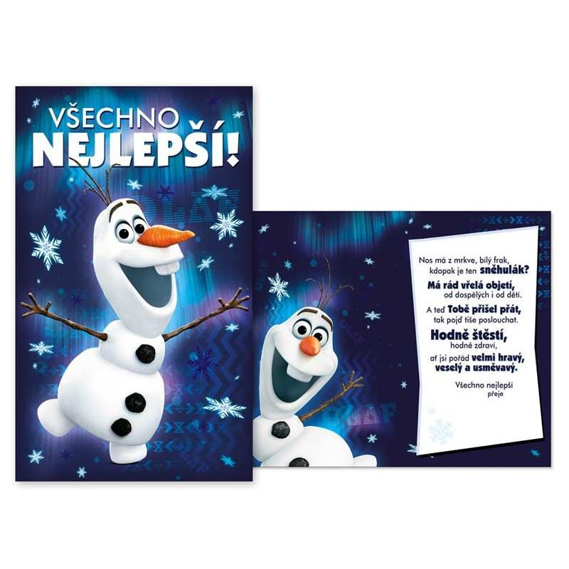 Přání dětské Frozen / Olaf / 20 x 11,5 cm