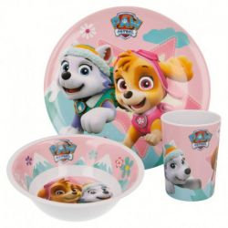 Dívčí sada plastového nádobí Skye a Everest / Paw Patrol / Tlapková Patrola / talíř miska a kelímek
