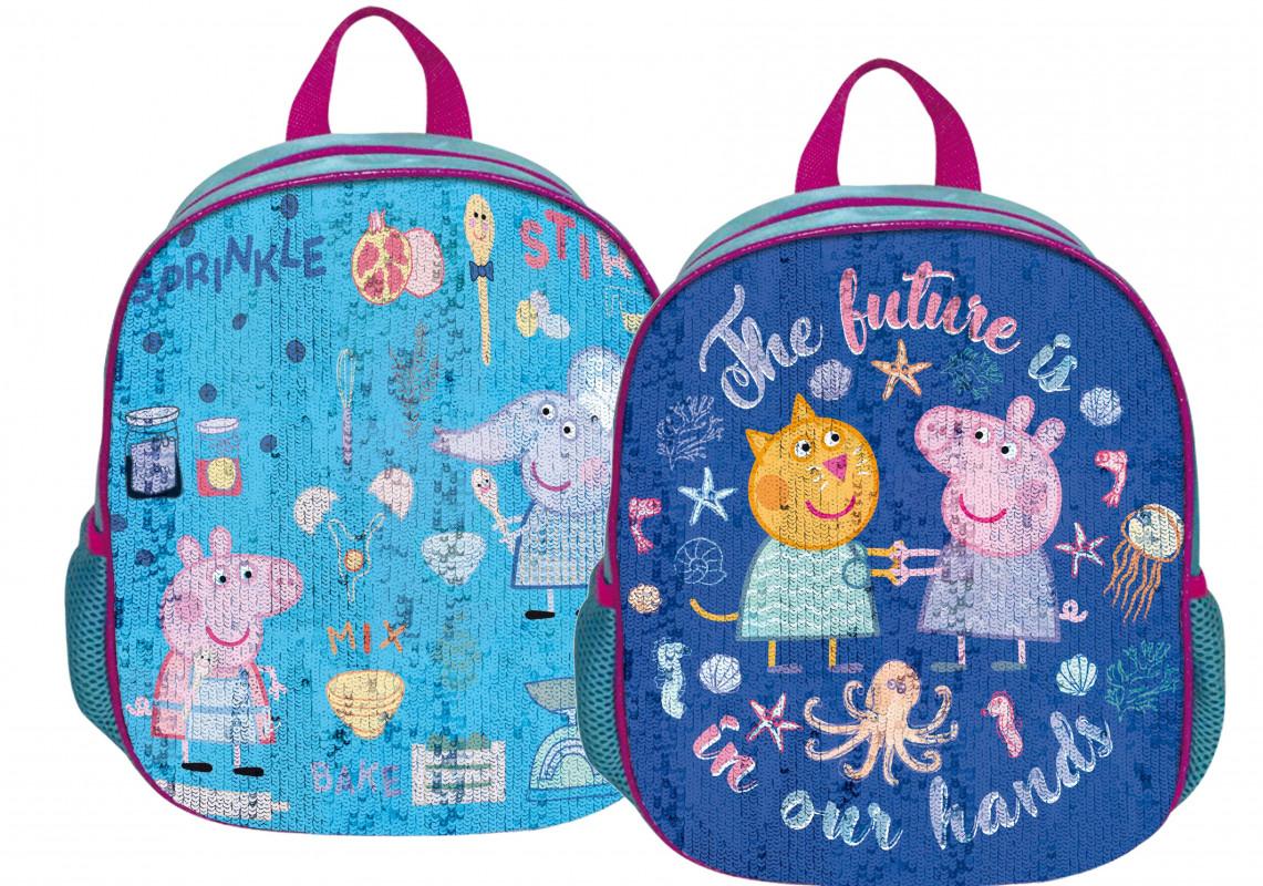 Dětský batoh s měnící se přední stranou Prasátko Peppa / Peppa Pig / Blue