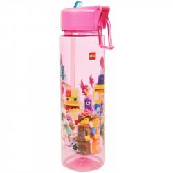 Plastová láhev na vodu s brčkem Lego Movie 2 / pink
