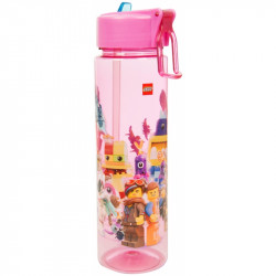 Plastová láhev na vodu s brčkem Lego Movie 2 / pink / vecizfilmu