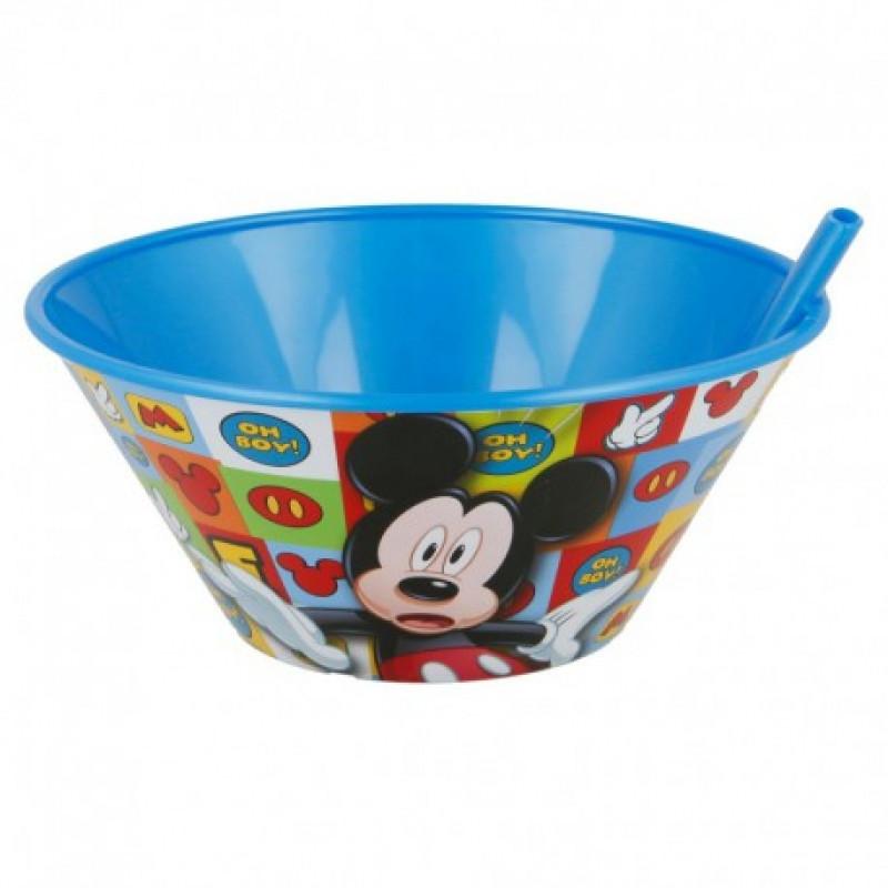 Plastová miska s vestavnou slámkou Myšák Mickey / Mickey Mouse