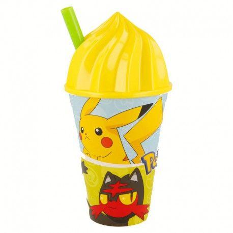 Kelímek s víčkem a brčkem Pokemon 430 ml