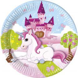 Papírové talířky Jednorožec / Unicorn 8 ks