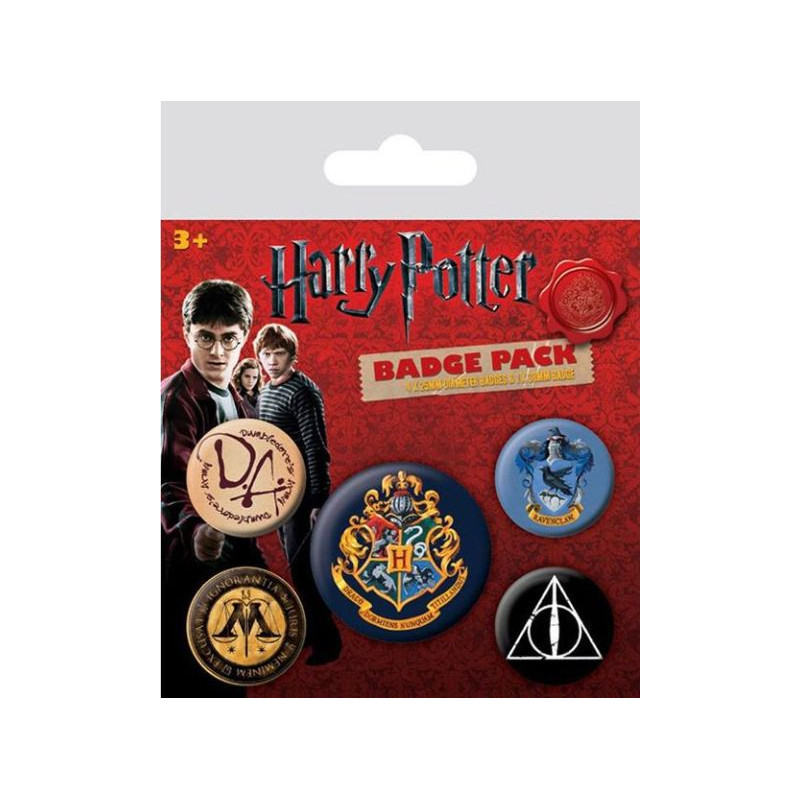 PLACKY / ODZNAKY SET 5 KUSŮ Harry Potter HOGWARTS