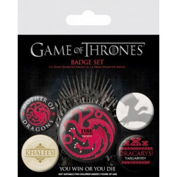 PLACKY / ODZNAKY HRA O TRŮNY / GAME OF THRONES FIRE AND BLOOD SET 5 KUSŮ