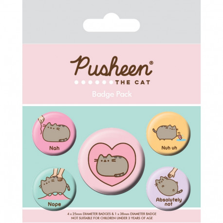 Sada 5 ks připínacích odznáčků s kočičkou Pusheen Love