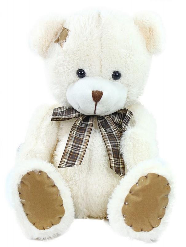 Plyšový medvěd s mašlí a záplatou Bílý
