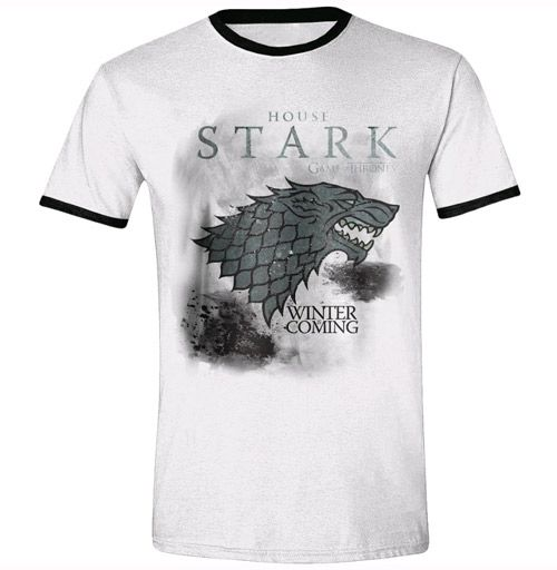 Tričko Pánské Hra O Trůny / Game Of Thrones Stark Storm Ringer Bílé Xl